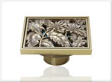 e-pak Best Price Beautiful L5402 Antique Brass Gravity Flushing Construction & Real Estate Bathroom Floor Drain water fall chrom