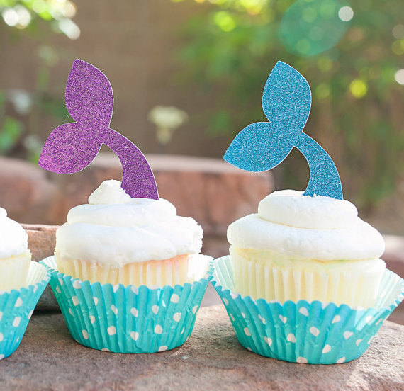 Mermaid Tail Cupcake Toppers Under The Sea Food Picks Nautical Wedding Party Baby Bridal Shower