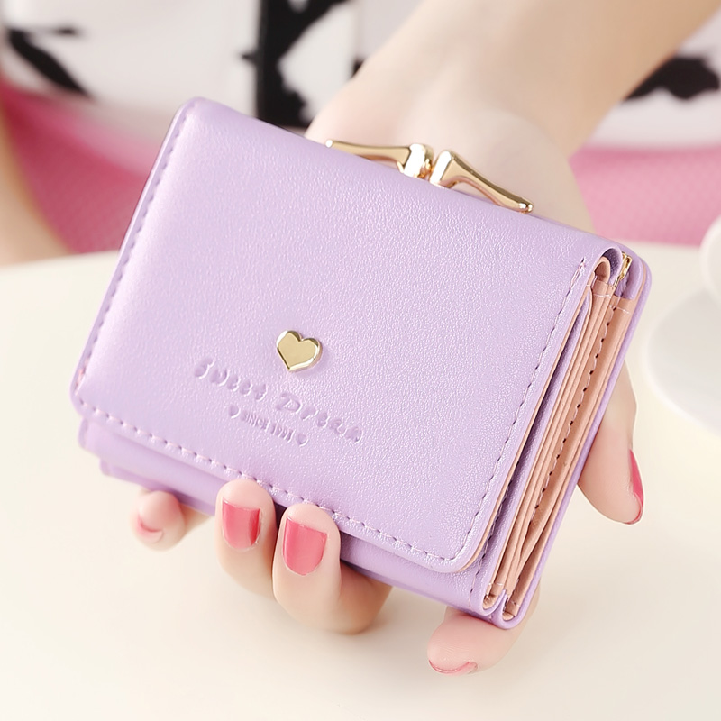 Fashion women wallets multi-function High quality small wallets rivet love short design three fold wallet coin purse for women(China (Mainland))