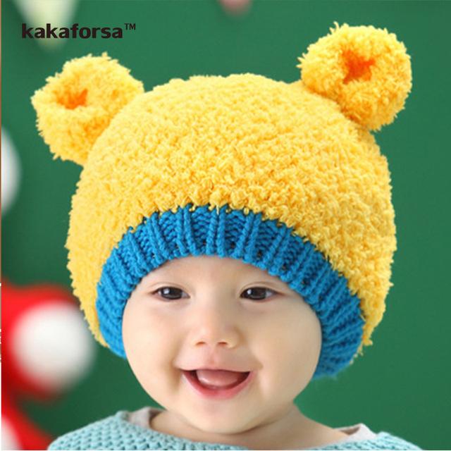 Новое Прибытие Зима Милый Ребенок Теплые Шапочки Мода Крючком Акриловые Медвежонок Hat для Детей Высокого Качества Мальчики Девочки Твердые Cap