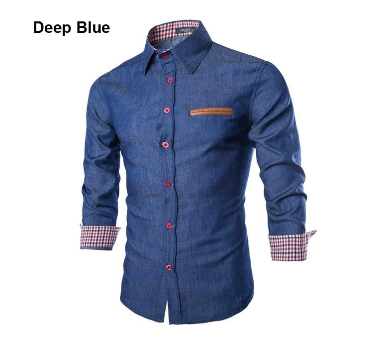 2015 Spring Autumn Features Leather Pocket Shirts Men Casual Jeans Shirt New Arrival Long Sleeve Casual Slim Fit Male Shirts