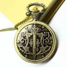 Free shipping wholesale dropship 2013 hot sale bronze vintage big round face Black Butler fashion quartz pocket watch