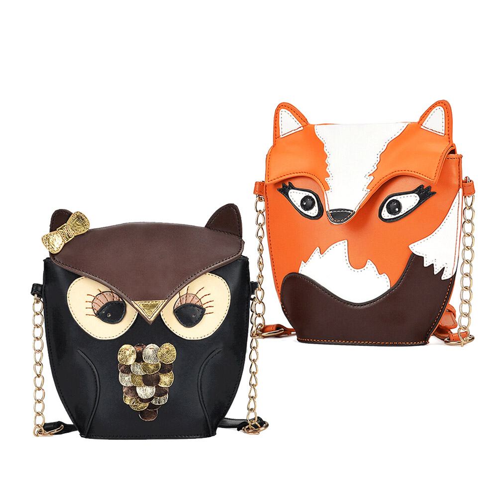 2015 New Fashion Women Leather Handbags Cartoon Bag Owl Fox Shoulder Bags Women Messenger Bags Wallte Cute 2 Colors Hig(China (Mainland))