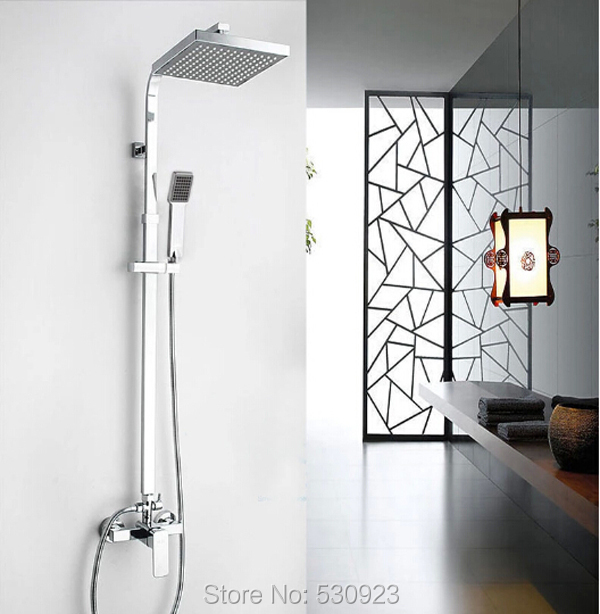 Newly 8 Inch Rain Bathroom Shower Faucet Set Chrome Finish W/ ABS Handheld Shower ABS Shower Head Wall Mounted Mixer Tap