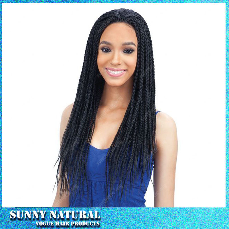 synthetic micro braided lace front wigs for black women long black synthetic micro braid wigs glueless lace front braided wigs<br><br>Aliexpress