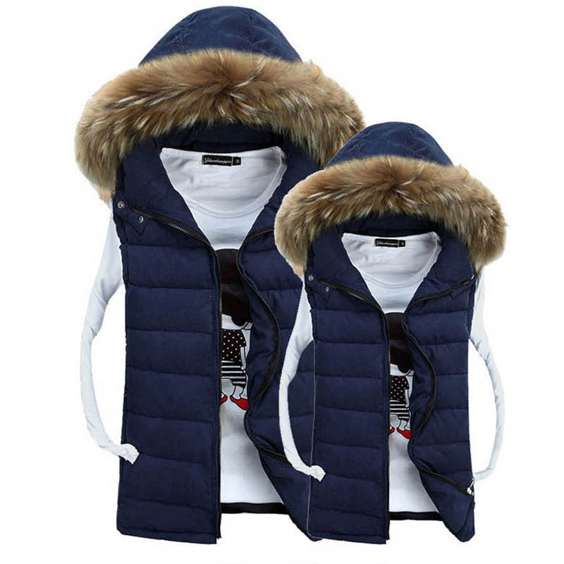 Fur Hooded Men Fashion Warm Jackets Plus Asian Size M-3XL Cotton Padded Winter Outerwear Man Casual Vest Coats - Natural Beauty Clothing store