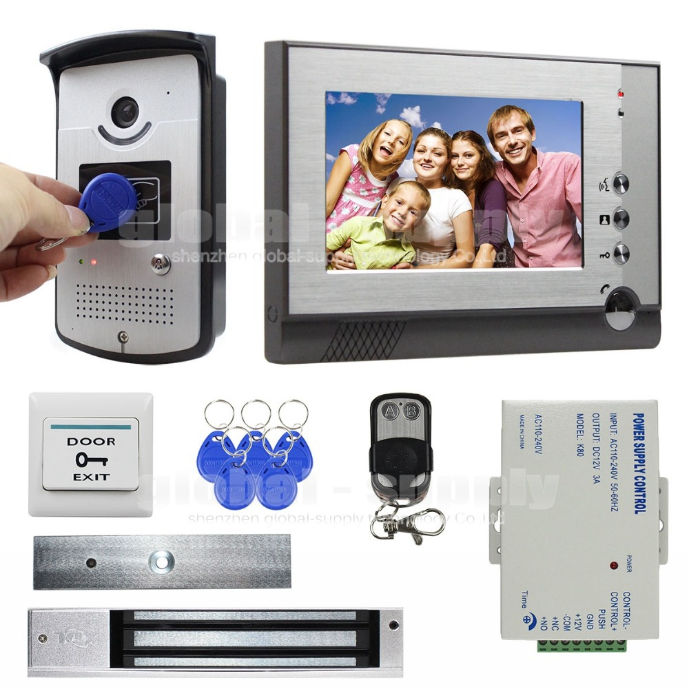 280KG Magnetic Lock 7 inch TFT Color Video Door Phone Visual Intercom Doorbell ID Unlocking RFID IR Night Vision Camera(China (Mainland))