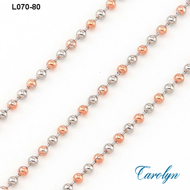 Rose gold Silver Two Tone Stainless Steel Beaded Chain For Necklace Retailer(China (Mainland))