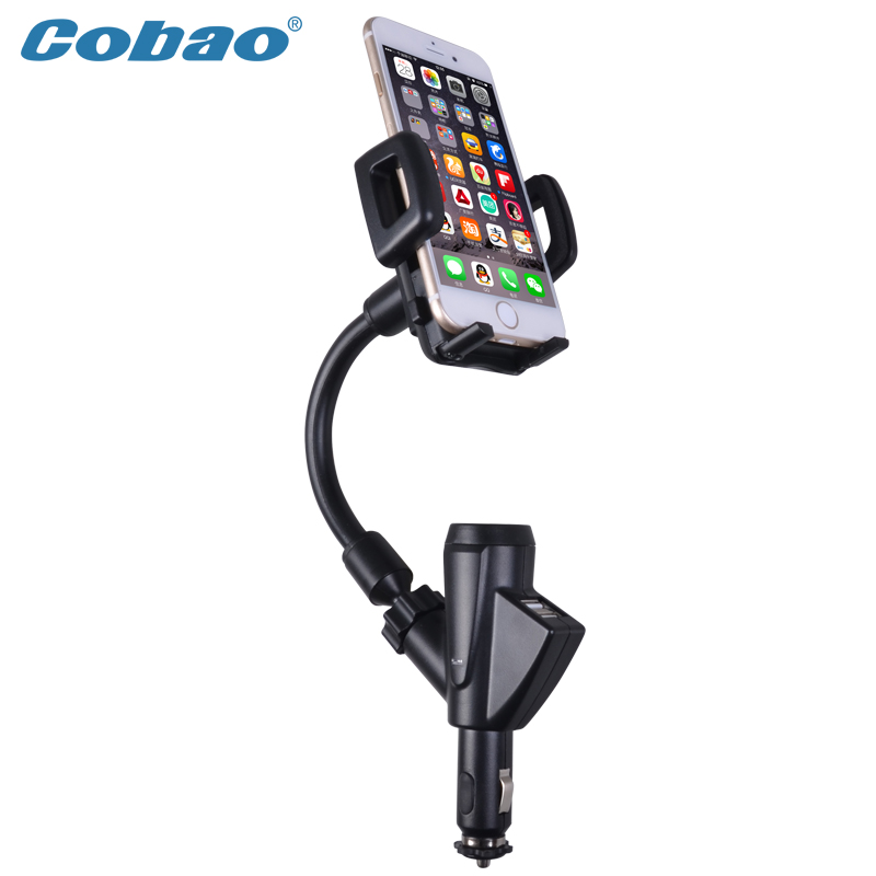 Car Mobile Cell Phone Mount Holder With Cigarette Lighter Socket 2 Charging USB Port Charger For iphone 6 5s 6s 6s plus xiaomi(China (Mainland))