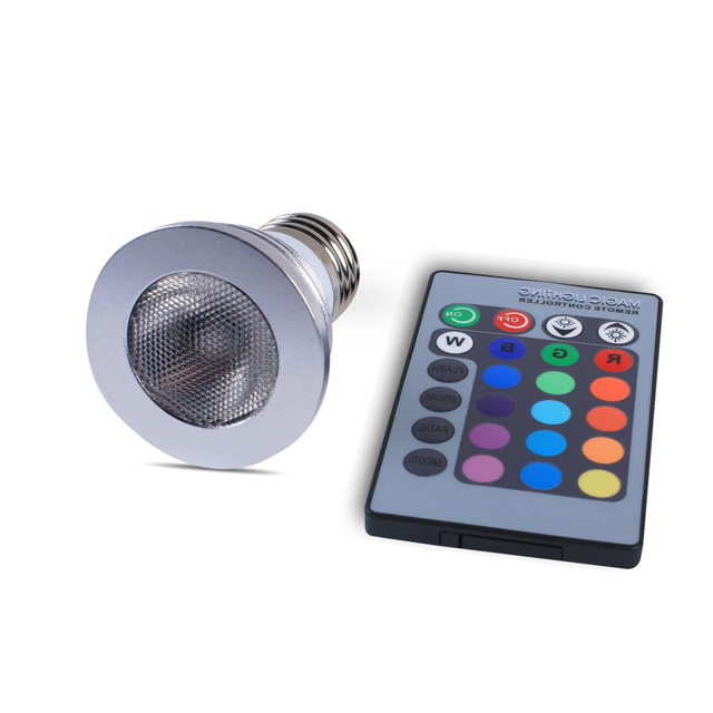 Fashionable 85-265V 3W E27 RGB LED Lamp Bulb LED Spot Light Spotlight w/ Remote Control Free shipping