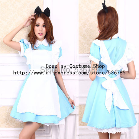 Hot Sale Alice In Wonderland Dress Lolita Dress Maid Cosplay Fantasia Carnival Halloween Costumes For Women Plus Size M L XL(China (Mainland))