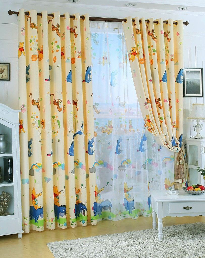 Eco Friendly Curtains For Kids Pooh Bear Cartoon Curtains Sheer Curtains 100 Blackout Curtains