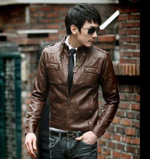 2013 jacket men -slim -sexy style coat leather jacket for men (Outdoor Research Men's Stormbound Garment) free shipping PU011