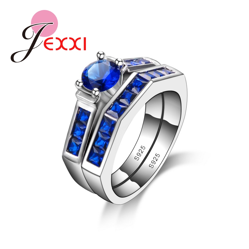 JEXXI High Quality Silver Rings Set for Women Wedding Top CZ Diamond Jewelry Blue Sapphire Engagement Rings 925 Stamp anillos(China (Mainland))