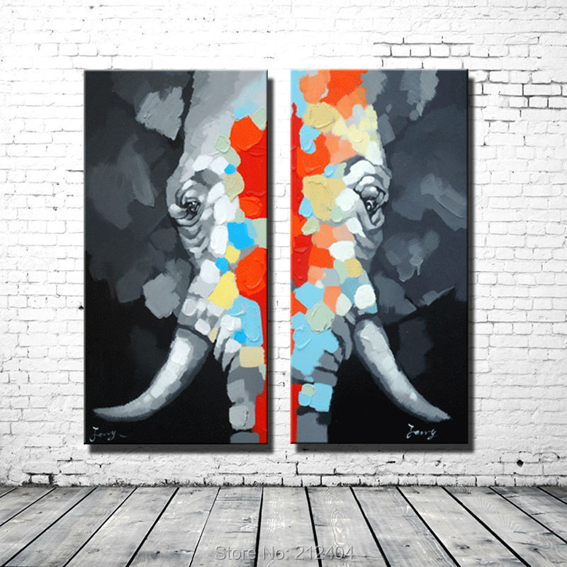 Abstract Colorful Elephant - Handmade Oil Painting Canvas Cartoon Animal Wall Art 2 Panles Unframed Home Decoration DaFen Asenart Studio store