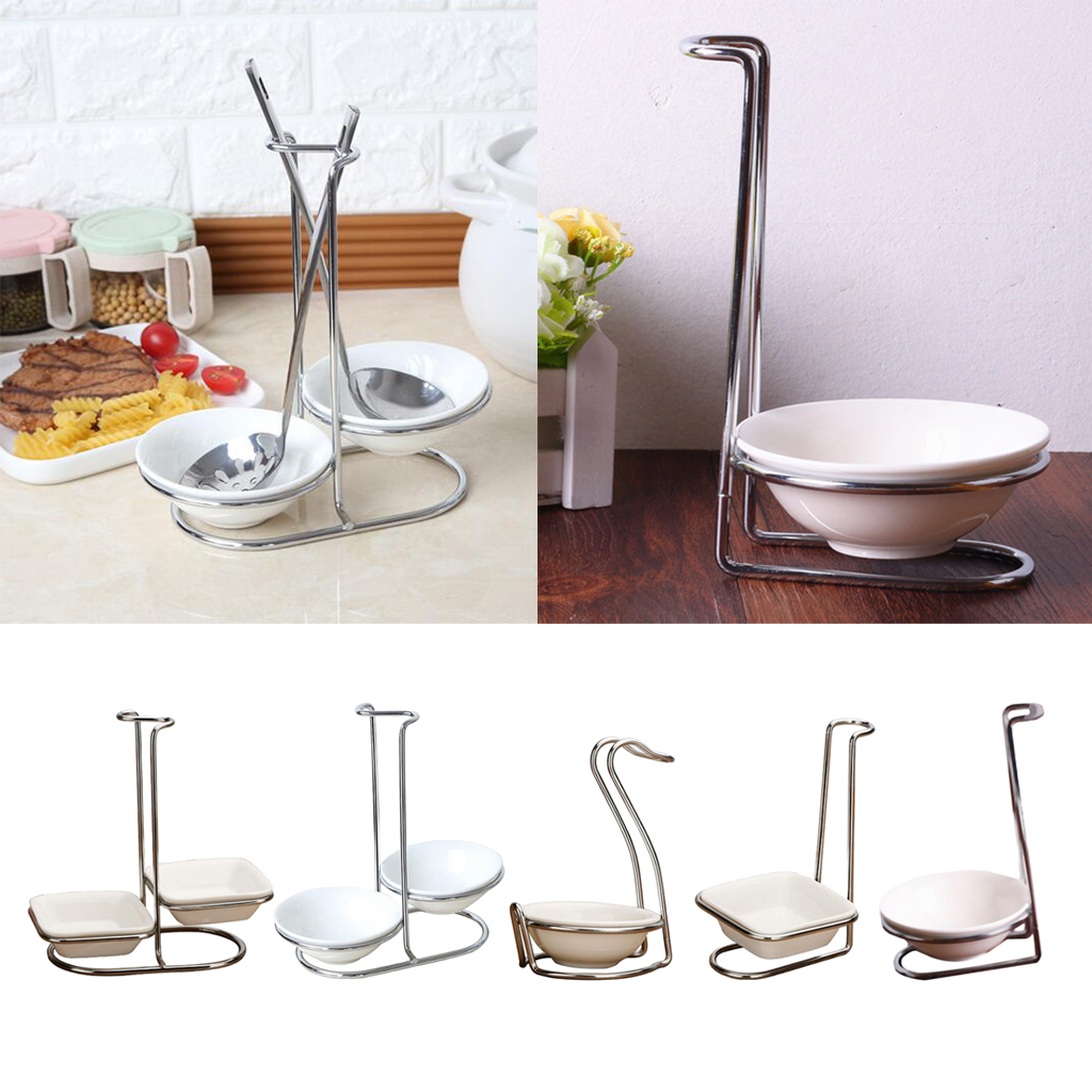Modern White Ceramic Kitchen Ladle Spoon Rest Holder With Polished Stainless Steel Rack Spoon Rests Clips Holder Kitchen Tools Spoon Rests Pot Clips Aliexpress