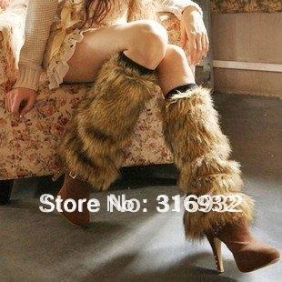 O5 Winter Lady Faux Fur Leg Warmer Long Boot Cover