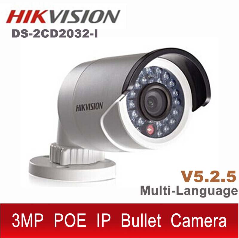 Камера наблюдения Hikvision DS /2CD 2032/i POE 3/ip CCTV onvif HD 1080P ipcam IP66 DS /2CD 2032 DS 2CD 2032 DS-2CD2032-I hikvision international version ds 2cd1031 i replace ds 2cd2032 i 3mp ip mini bullet camera support ezviz poe ir 30m outdoor