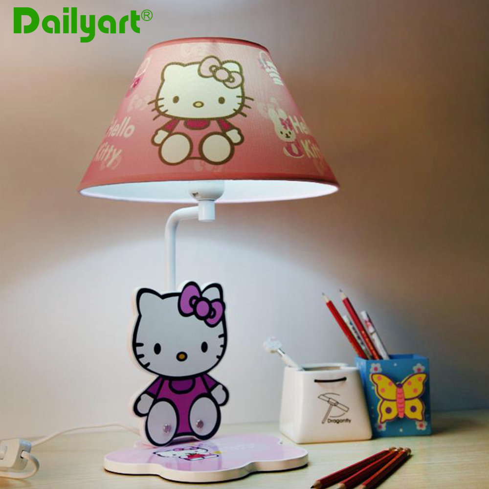 hello kitty pink children table lamp for bedroom study room kindergarten home decor cartoon. Black Bedroom Furniture Sets. Home Design Ideas
