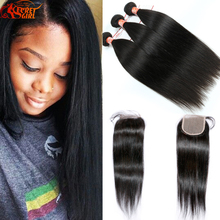 7a Eurasian Virgin Hair Straight Hair With Closure 3 Bundle Human Hair with Lace Closure 4*4 Unprocessed Hair Weave With Closure
