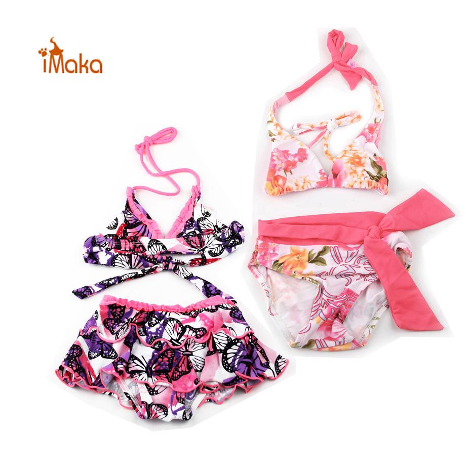 2016 Girls Swimsuit Butterfly Pattern Bikini Swimwear Kids Swimming Suit For Girl Children Bathing Suit Maillot De Bain 6-12T(China (Mainland))