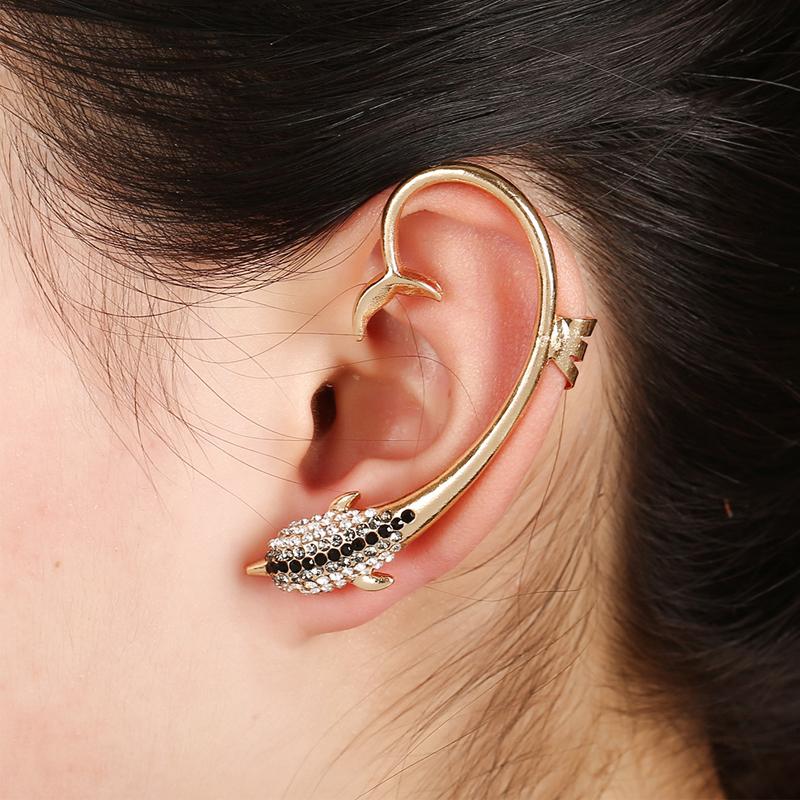 Personality Women Vintage Dolphin Rhinestone Clip Earrings Girls Hyperbole Punk Animal Clip Stud Earrings High Quality Ear Cuff(China (Mainland))