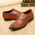 Men shoes causal shoe pointed toe big size 37 44 solid rubber microfiber leather shoes men