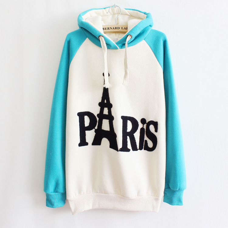 2014 paris letters Eiffel Tower women hoody cotton hoodies sweatshirts Tracksuit Sport Tops Outerwear Plus 4 colors - Hong Kong J&R Trading Co.,LTD store