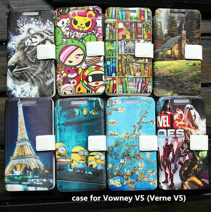 PU leather case for Vowney V5 (Verne V5) case cover(China (Mainland))