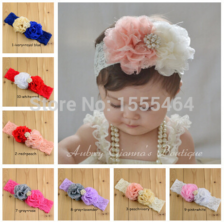 new 2015 Infant Toddler Baby Elastic Headbands kids Girls Flower Headbands Rhinestone Baby Shower Hair Accessories10pcs/lot(China (Mainland))