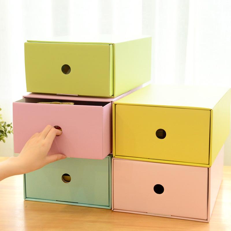 Ann color block desktop storage box thickening paper drawer finishing box diy multifunctional shoebox(China (Mainland))
