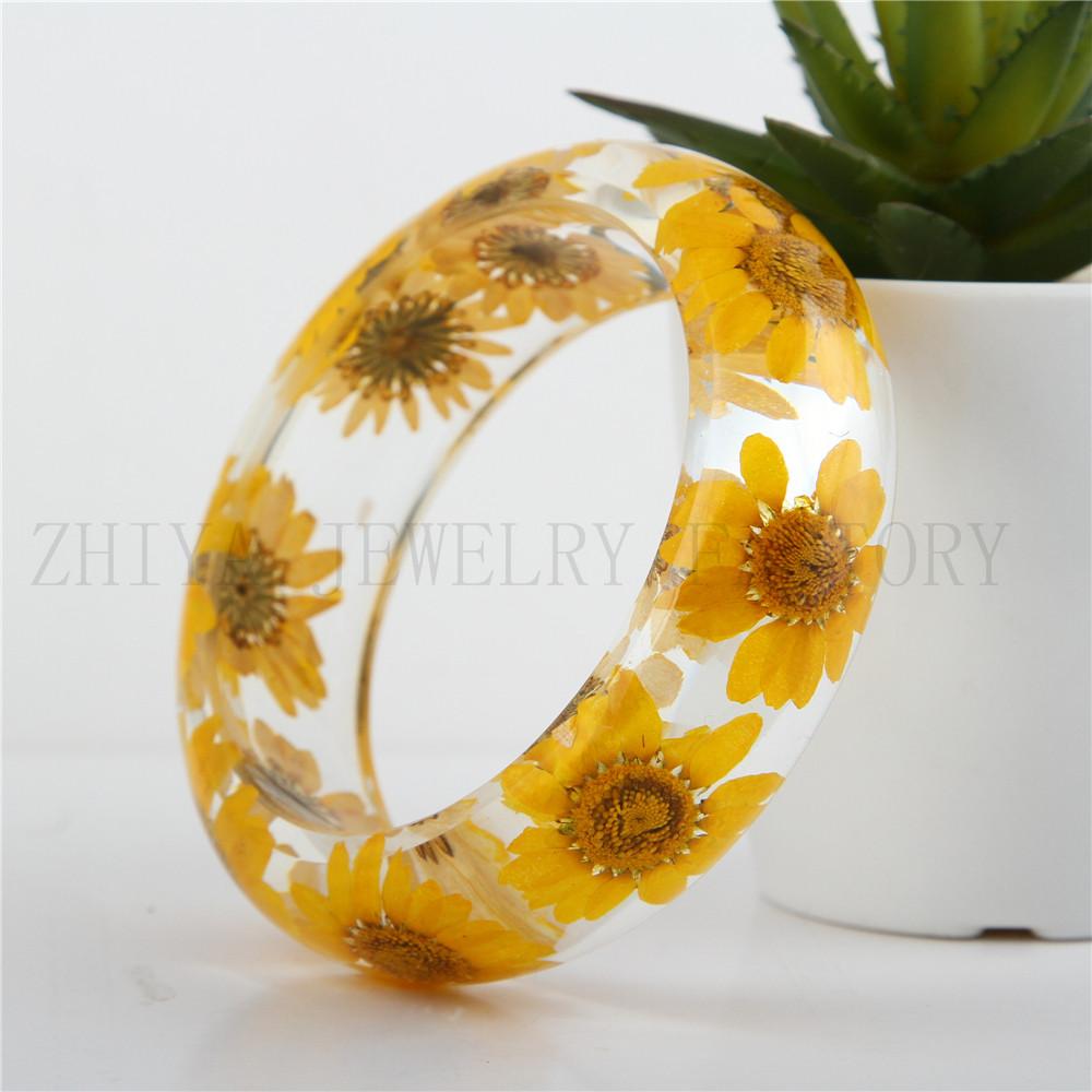 ZYA 2016Yellow flower resin bangle Latest popular sex bangle fashion bangles , resin bangle , crystal acrylic cuff bracelet(China (Mainland))