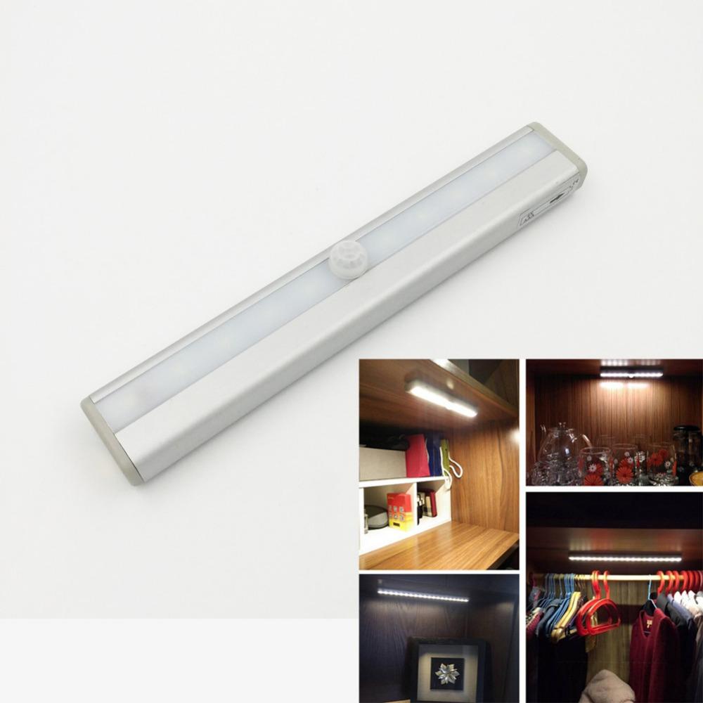 Night Lights 10*LED PIR Infrared Motion Detector Sensor Closet Cabinet Wardrobe Light Lamp Wireless Using 4*AAA Battery<br><br>Aliexpress