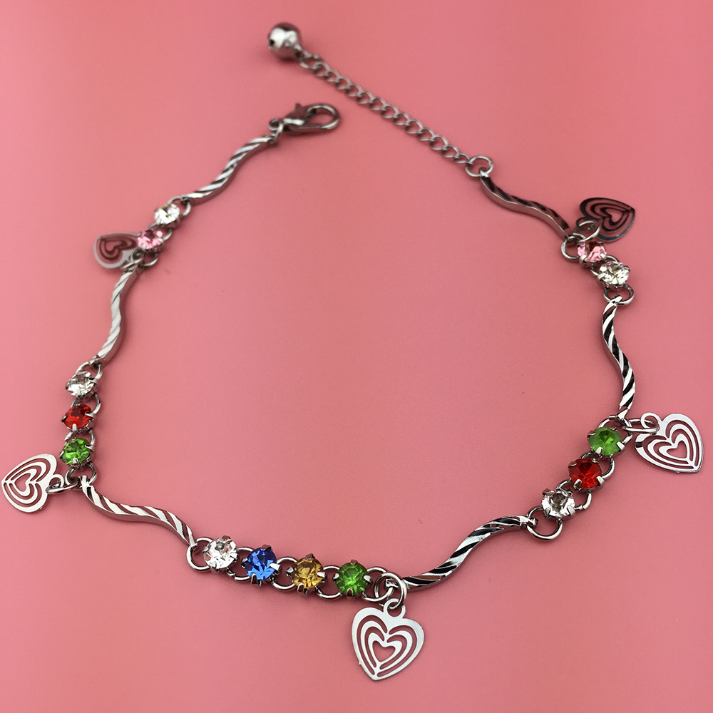 2016 Silver Chain Crystal Anklet Jewelry Fashion Heart ...