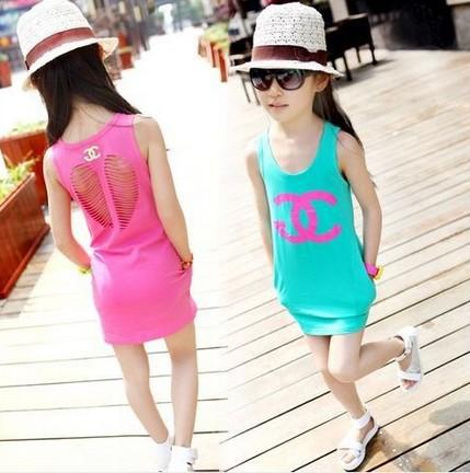 New 2015 summer girl dress baby girls vest dress cotton girl clothing hollow pocket bag hip baby casual dress(China (Mainland))
