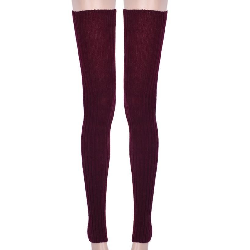 Knitting Pattern Thigh High Leg Warmers : Amazing Winter Warm Women Thigh High Knit Leg Warmers For Women Over Knee Leg...