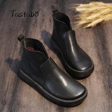 Tastabo El Yapımı yarım çizmeler Slip-on Retro Çizmeler Ayakkabı Kadın Moda Yumuşak Hakiki Deri Martin Çizmeler Kadınlar için(China)