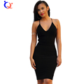 Women Solid Black Slip Bodycon Dress Casual Sexy Strap Sleeveless V Neck Straight Dress Bohemian Cotton