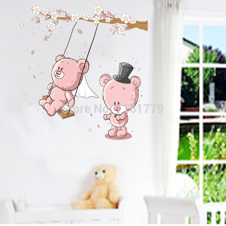 Removable Large Size Vinyl Wall Stickers Teddy Bear Swing Room Decor Cartoon Decals JM7234 - Lovely Home-Lise store