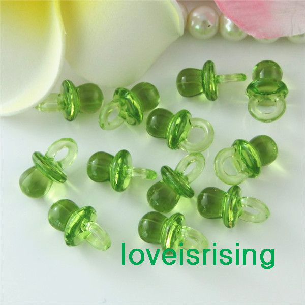 Arrival-2022mm*11mm Light Green Mini Acrylic Baby Pacifier Shower Favors~Wedding Party Favors Cupcake Accessory - Bridal_Shop store