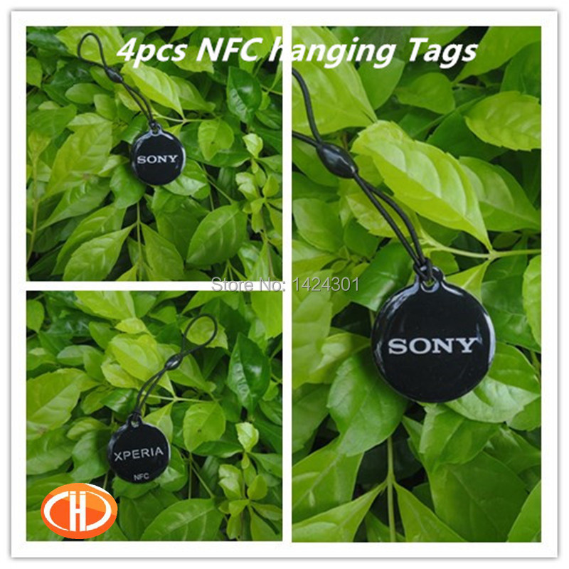 (4pcs) Black Epoxy Hangings NFC Tag 13.56MHz RFID Tags Labels Pendant S50 Compatible for Sony Xperia Z and another NFC Phone(China (Mainland))