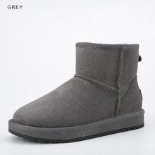 INOE klasik erkekler orta buzağı koyun derisi deri kar botları Shearling yün kürk astarlı kış çizmeler tutmak için sıcak ayakkabı su geçirmez siyah(China)