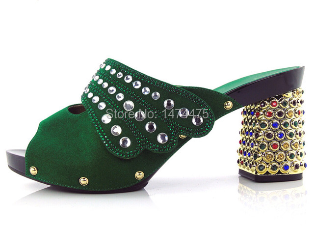 Фотография Green Top Quality African Party High Heel For Sale Beautuful African Lady High Heels Shoes With Stones