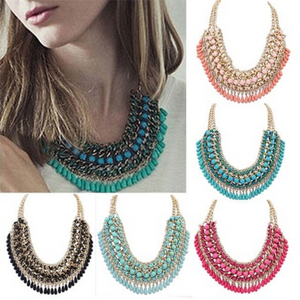 2016 Women Fashion Layered Bohemian droplets Chain Necklace Vintage Choker Pendant Chunky Statement Bib Jewelry 4 Colors  -  Tranquil garden store