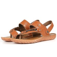 Summer sandals male leather sandals clip toe tendon at the end of Korean wave of men