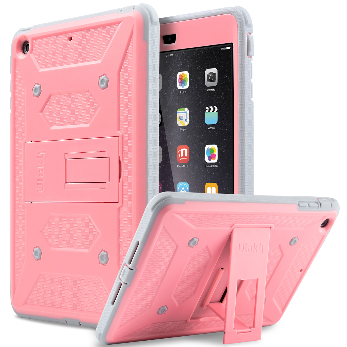 ULAK [KNOX ARMOR] Hybrid Impact Resistant Cover with Built-in Screen Protector & Kickstand Case for Apple iPad Mini 1/2/3(China (Mainland))