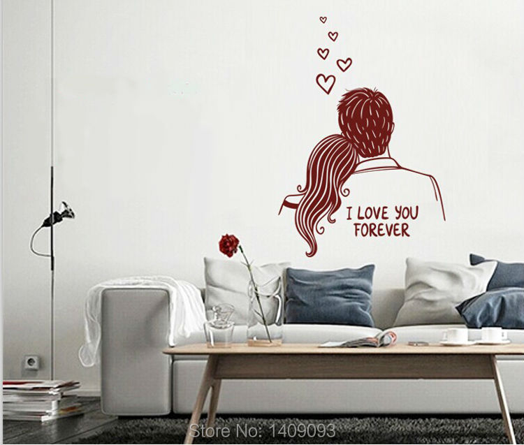 product Fashion Latest Design Home Decoration 2014 Love You Forever Letters Solid Color Sticker on the Wall