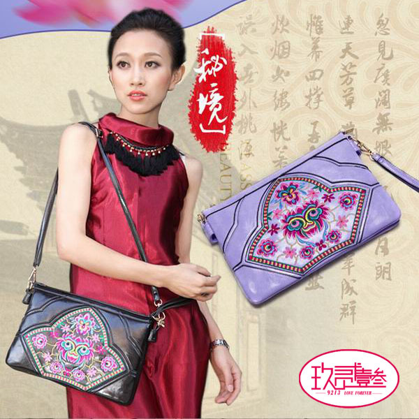 2015 new arrival Vintage Boho Hobo leather Ethnic Embroidery Shoppers Bag Women's shoulder bag Embroidered handbags ethnic bags(China (Mainland))