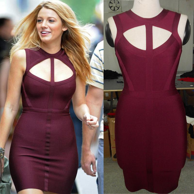 Celebrity Bandage Dresses Women Sexy Purple Bodycon Sleeveless Summer Evening Party HL Dress 2015