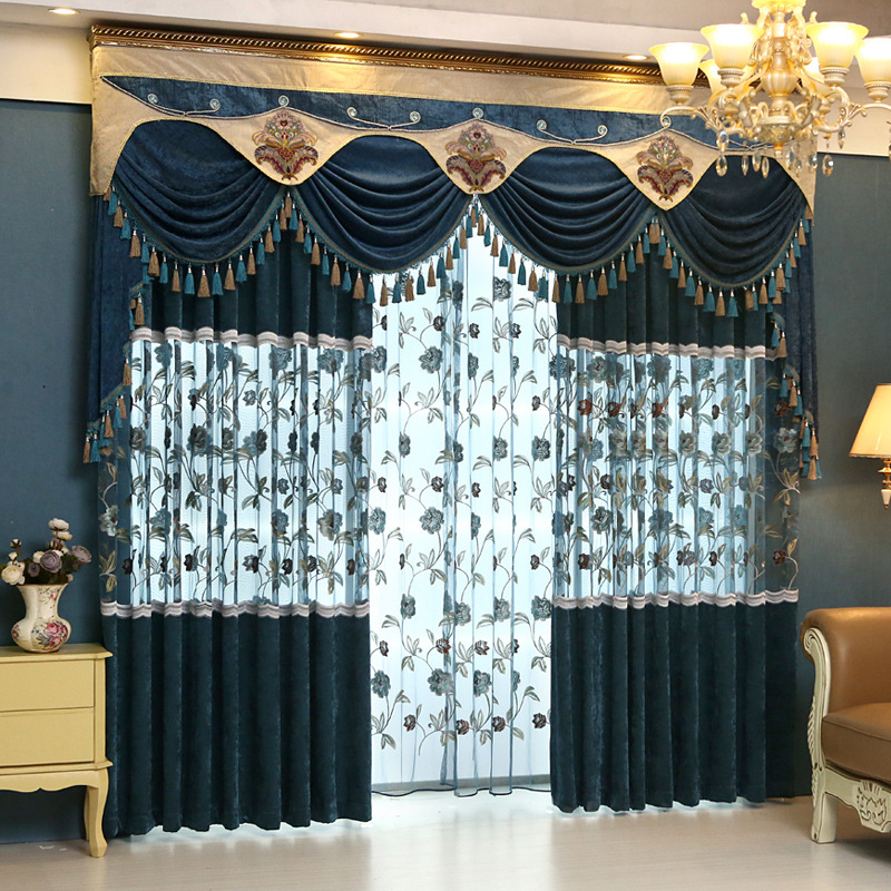 Buy european chenille fabric embroidered for Curtain fabric ideas for living room